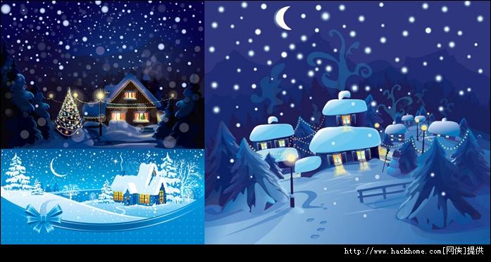 冬天下雪夜晚卡通矢量素材下载