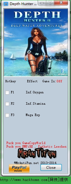 《海底猎人2:深海探险》三项修改器 v1.0
