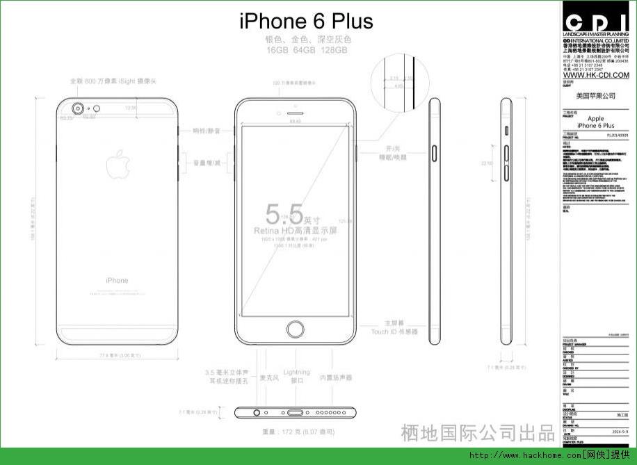 iPhone6 Plus��ϸ�ߴ�ͼֽCAD PDF��