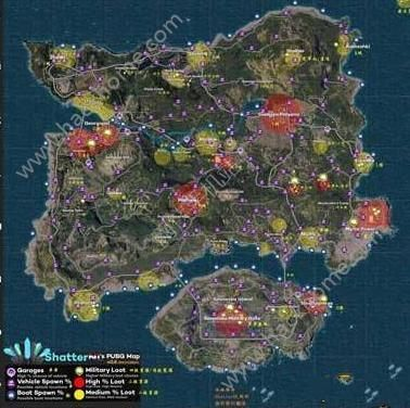 绝地求生刺激战场资源哪里多 全地图资源分布图[多图]图片2_嗨客手机站