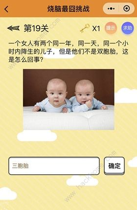 烧脑最�逄粽降�19关答案攻略 他们不是双胞胎[多图]图片1_嗨客手机站