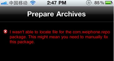 苹果iphone手机越狱后进入Cydia安装插件出错提示黄字Failde to fetch和红字是什么意思?[多图]图片3_嗨客手机站